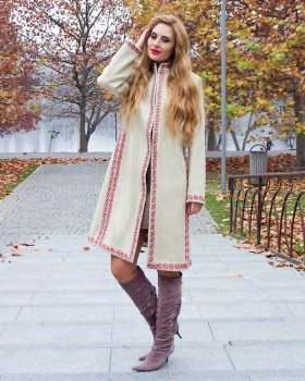 EMBROIDERED WOOL COAT - Candy Flowers
