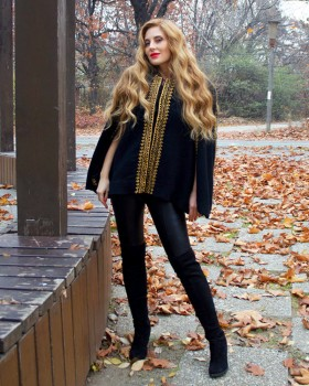 EMBROIDERED BLACK WOOL CAPE - Gold