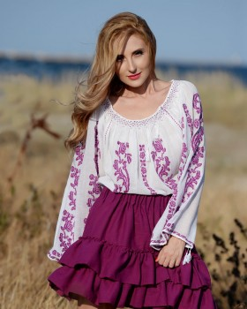 ETHNIC BLOUSE with handmade embroidery - Purple Rose