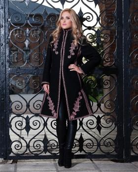 ETHNIC EMBROIDERED WOOL COAT - Elegance