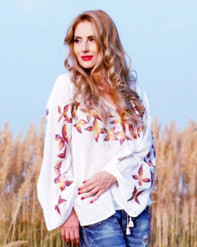 HAND PAINTED BLOUSE - Golden Butterfly