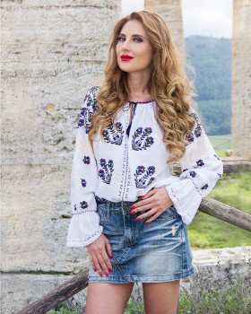 ETHNIC BLOUSE with handmade floral embroidery  - Meadow Saffron Flower