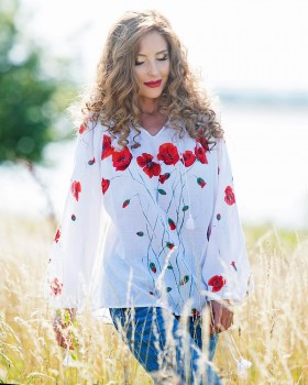 HAND PAINTED BLOUSE - Poppy Flowers