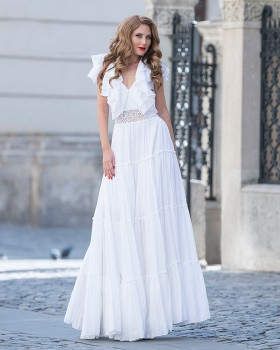 Long ruffled V-neck cotton dress with crochet lace waist applications