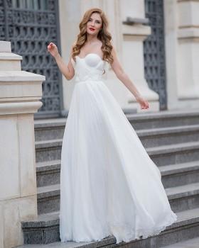 Long princess silk wedding dress with sweetheart draped corset